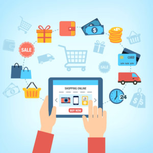 Background with symbols of online shopping - customer buying stuff online